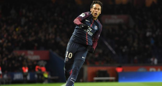 30dba35d925 Paris Saint-Germain's Brazilian forward Neymar celebrates after scoring his  team's sixth goal, completing