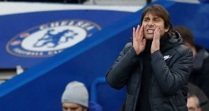 Chelsea manager Antonio Conte said Pedro  Rodríguez understood his mistake and wanted to stand up quickly after diving and admit it was a mistake. Photograph: Peter Nicholls/Reuters