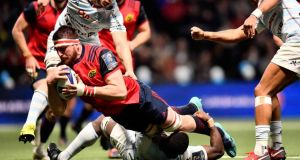 Munster's Jean Kleyn scores his sides first try against Racing at the U Arena in Paris. Photograph: Dan Sheridan/Inpho