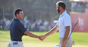 Rory McIlroy and Dustin Johnson are being well paid to compete in the Abu Dhabi HSBC Golf Championship in the United Arab Emirates. Photograph: Ross Kinnaird/Getty Images