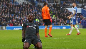 Chelsea's Victor Moses celebrates scoring their fourth goal against Brighton and Hove Albion in their Premier League clash. Photo: Hannah Mckay/Reuters