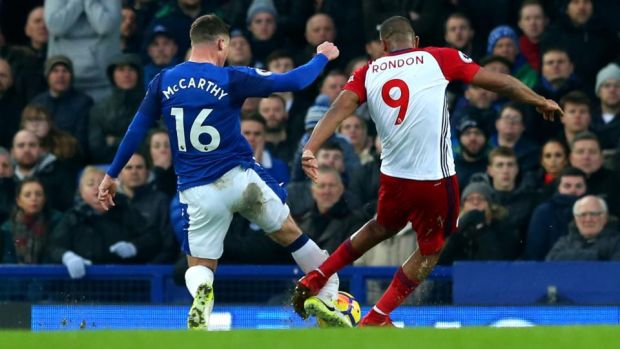 West Brom's Salomon Rondon goes through the back of James McCarthy with a challenge which looks to have resulted ina broken leg for the Irishman. Photo: Jan Kruger/Getty Images
