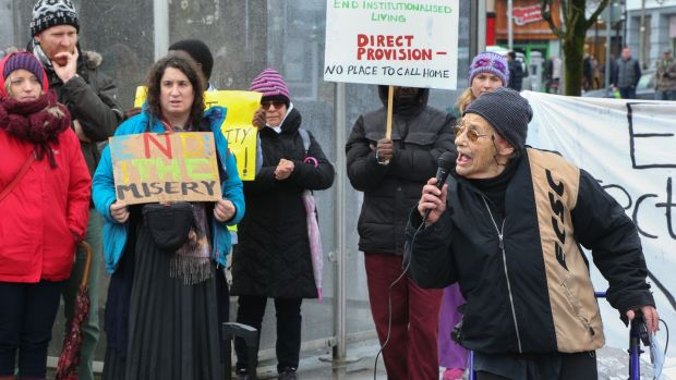 Anti-war and anti-racism activist Margaretta D'Arcy speaking to the people a the Galway Anti-Racism Network march on Saturday. Photograph: Joe O'Shaughnessy