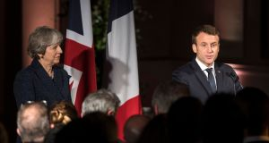 Brexit   basics: Emmanuel Macron not only repeatedly tells Theresa May what the British can't have but is also equally clear about what is on the table. Photograph: Will Oliver/EPA