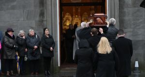 The coffin of  Dolores O'Riordan arrives at St Joseph's Church in Limerick for a public reposal.  Photograph: Niall Carson/PA
