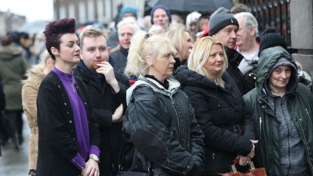 People queue as the coffin of Dolores O'Riordan arrives at St Joseph's Church in Limerick for a public reposal. Photograph: Niall Carson