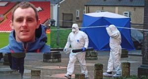 Garda forensic officers at the scene of the murder of Derek Coakley-Hutch (inset). Main photograph: Cyril Byrne