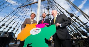At the launch of the 3 Counties Energy Agency on the Dunbrody famine ship in New Ross, Co Wexford, were  Marie Donnelly, former director for renewables, research and innovation, energy efficiency with the European Commission, Paddy Phelan, 3CEA manager, and Cllr Denis Foley, chairman  of the 3CEA board. Photograph: Patrick Browne