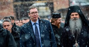Serbian president Aleksandar Vucic, next to Serbian Orthodox bishop Teodosije, visits the Banjska Monastery in northern Mitrovica on Saturday. Photograph: Armend Nimani/AFP/Getty Images
