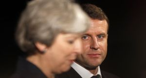 Brexit stance: Emmanuel Macron, the French president, with Theresa May, the British PM, in London last week. Photograph: Adrian Dennis/AFP/Getty