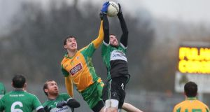 Fulham's Michael Murphy with Corofin's Cathal Silke during their clash at Ruislip. Photo: Gerry McManus/Inpho