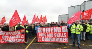Bombardier workers in Belfast at a rally  against proposed new US import tariffs on Bombardier's CSeries jets. Photograph: Niall Carson/PA Wire