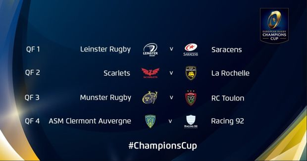 The complete quarter-final lineup. Matches will take place on 29/30/31 March / 1 April 2018 and the confirmed kick-off times, dates and broadcasters will follow next week. Photo: Champions Cup Twitter