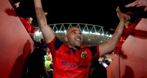 Simon Zebo leaves the pitch after Munster's 48-3 win over Castres. Photograph: Dan Sheridan/Inpho