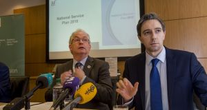 HSE director-general  Tony O'Brien (left) and Minister for Health Simon Harris announce the HSE's National Service Plan for 2018. Photograph: Brenda Fitzsimons
