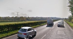 A woman aged 19 died after being hit by a van in Co Antrim in the early hours of Saturday on the Moneynick Road (above) outside Toomebridge, Co Antrim. File photograph: Google Street View