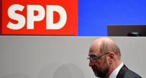 "SPD chief Martin Schulz: ""Now we will try to unite the party after this tough discussion."" Photograph: Sascha Schuermann/AFP/Getty Images"
