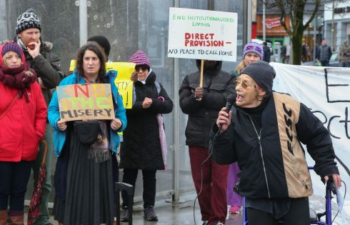 END DIRECT PROVISION: Anti-war and anti-racism activist Margaretta D'Arcy speaks at a rally organised by the Galway Anti-Racism Network, urging an end to Ireland's Direct Provision system for refugees and asylum seekers. Photograph: Joe O'Shaughnessy