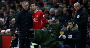Manchester United manager José Mourinho and Henrikh Mkhitaryan: Despite scoring United's last goal of the 2017 season as they won the Europa League against Ajax in Stockholm, Mkhitaryan never really seemed to win Mourinho's trust. Photograph: Jan Kruger/Getty Images