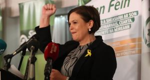 President elect and current deputy leader of  Sinn Féin Mary Lou McDonald addresses supporters at the Balmoral Hotel in Belfast. Photograph: Niall Carson/PA