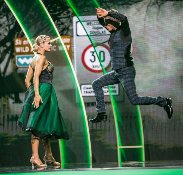 Rob Heffernan takes to the air during his tango with and Emily Barker. Photograph: Kyran O'Brien/RTÉ.