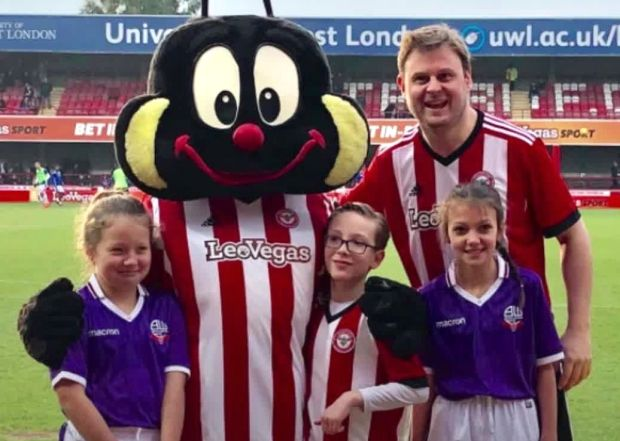 Nick Goff poses on his big day as the Brentford mascot.