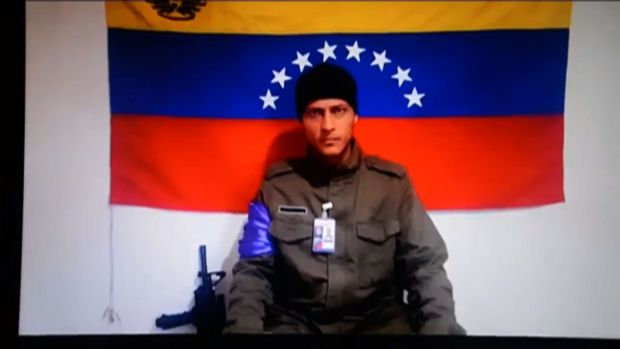 "Óscar Pérez in a screenshot taken from a handout video released by Anonymous Venezuela on July 4th, 2017. He urged Venezuelans to ""stand firm in the streets"" in their protests against President Nicolas Maduro. Photograph: AFP Photo/Anonymous Venezuela"