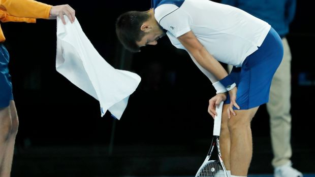 Djokovic reacts during his loss. Photo: Mast Irham/EPA