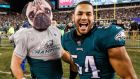 Philadelphia Eagles' Jason Kelce  celebrates with  Kamu Grugier-Hill after the win over the Minnesota Vikings. Photograph:  Justin Lane/EPA