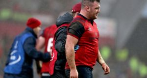 Dave Kilcoyne suffered a knee injury early in Munster's 48-3 European Champions Cup win over Castres at Thomond Park on Sunday. Photograph: Dan Sheridan/Inpho