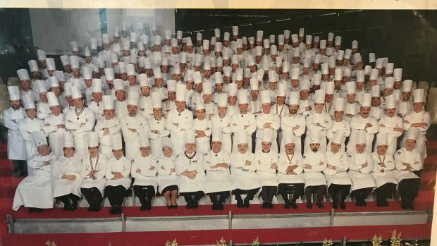 Chefs competing in the Bocuse d'Or culinary competition, including Kevin Thornton, fourth row third from right.