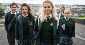 L-r: James Maguire (Dylan Llewellyn), Michelle Mallon (Jamie-Lee O'Donnell), Erin Quinn (Saoirse Jackson), Orla McCool (Louisa Harland), Clare Devlin (NIcola Coughlan)