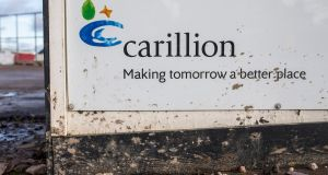 The Carillion logo on hoarding at  the Midland Metropolitan Hospital construction site in the UK. Photograph: James Beck/Bloomberg