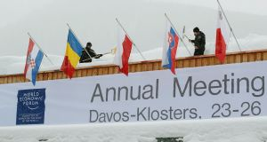 The WEF gathering of political and corporate leaders, alongside a smattering of celebrities, at Davos  has itself been criticised for perceived elitism. Photograph: Arnd Wiegmann/Reuters