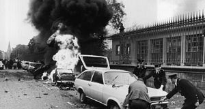 Nassau Street bombing aftmath in Dublin, 1974. Three bombs exploded in Dublin and one in Monaghan in May, killing 33 people and injuring almost 300. Photograph: Pat Langan/The Irish Times