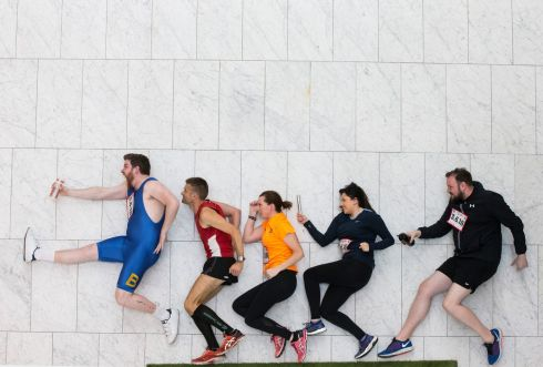 LIMBERING UP: Ross Brown, Cork's 96FM, Alex O'Shea, Cork City Fire Brigade, Deirdre Cotter, Mairead O'Connell, and KC of Cork's 96Fm at the launch of the 2018 Irish Examiner Cork City Marathon. It will take place on June 3rd. Photograph: Cathal Noonan