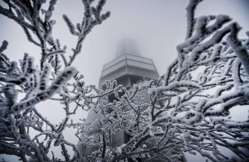 "LOOKOUT: The snow-covered radio tower, at the ""Feldberg"" peak in the Taunus mountains, western Germany. Photograph: Andreas Arnold/AFP/Getty Images"