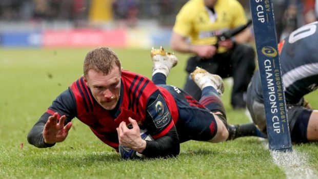 Keith Earls scores his try against Castres, courtesy of an assist from Simon Zebo. Photograph: Dan Sheridan/Inpho