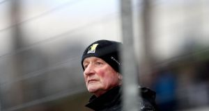 Kilkenny manager Brian Cody in the stands after being sent off during the Bord na Mona Walsh Cup Final against Wexford at  Nowlan Park. Photograph: Ryan Byrne/Inpho