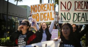 'Dreamers' and supporters protest for a clean Dream Act outside Disneyland in Anaheim, California. Photograph: Lucy Nicholson/Reuters
