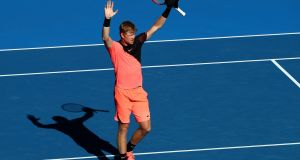 Kyle Edmund celebrates winning his quarter-final match against Grigor Dimitrov of Bulgaria on day nine of the 2018 Australian Open at Melbourne Park. Photo: Cameron Spencer/Getty Images