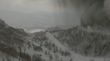 Webcam shows moment before volcanic smoke and rocks engulf ski resort