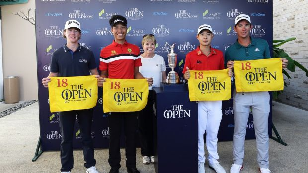 Jazz Janewattananond (second from right), with Sean Crocker, Danthai Boonma and Lucas Hebert who all qualified for the British Open through their finishes at the Singapore Open. Photo: Getty Images