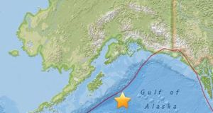 Map shows the location of a magnitude 8.2 earthquake that occurred at a depth of 10 km off Alaska on Tuesday. Photograph: EPA