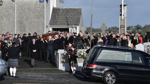 The coffin of Cranberries singer Dolores O'Riordan is carried out of the Church of Saint Ailbe in Ballybricken, Co Limerick. Photograph: Charles McQuillan/Getty Images