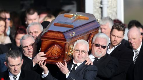 Mourners bear the coffin carrying Dolores O'Riordan following her funeral at the Church of Saint Ailbe in Ballybricken, Co Limerick. Photograph: Niall Carson/PA Wire