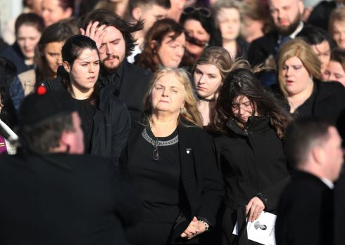 Eileen O'Riordan (centre) following the funeral of her daughter. Photograph: Niall Carson/PA Wire