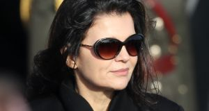 Ali Hewson, wife of U2 signer Bono, at the funeral of Cranberries singer Dolores O'Riordan at Saint Ailbe's Church, Ballybricken in Co Limerick. Photograph: PA.