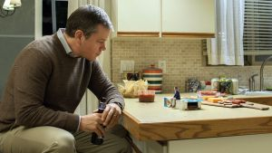 Matt Damon and Christoph Waltz in Downsizing (2017). Photograph: George Kraychyk Paramount Pictures. All Rights Reserved.
