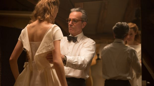 Daniel Day-Lewis and Vicky Krieps in Phantom Thread. Photograph: Laurie Sparham/Focus Features